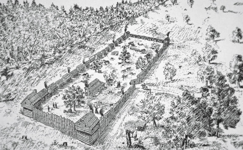 "On April 1, 1775, Boone and thirty axmen began construction of Fort Boonesborough, choosing a location in a defensible field ""about 60 yards from the river, and a little over 200 yards from a salt lick."""