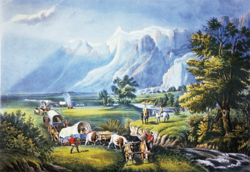 This Currier and Ives hand-colored lithograph by Fannie Flora Palmer, The Rocky Mountains—Emigrants Crossing the Plains, 1866, illustrates the barren beauty of the frontier—although Palmer never left New York.